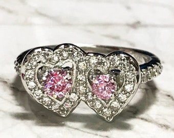 NEW 14K White Gold Layered on Sterling Silver Double Pink Hearts Ring size 7 . 75