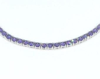 New White Gold Layered 925 Solid Sterling Silver 7 inch 4 prong Large Round Purple CZ Tennis Bracelet with Box Clasp