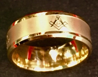New Yellow Gold Plated on Stainless Steel mason masonic ring band 8mm
