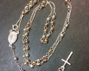 """Small catholic 14k tri-color gold on silver rosary bead necklace crucifix 3mm22"""""""