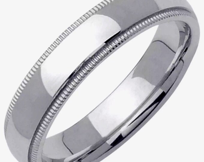 Handcrafted solid 925 Silver Rhodium plain wedding Ring Band 4mm Size 7