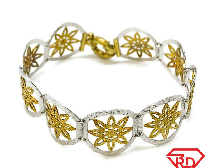 NEW .925 Sterling Silver Layered with White And Yellow Gold Thin Floral Linked Bracelet