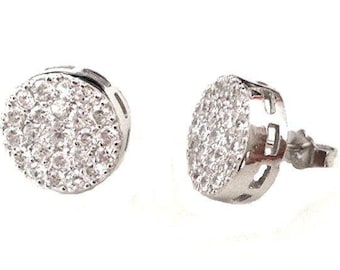 18k white gold layer on large size brilliant round cut micro pave stud cz .925 unisex