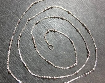 New small tiny 14k white gold layer on 925 italian beads cable chain 0.6mm-16""