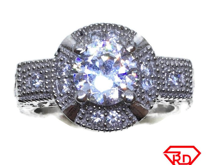 Double layer round CZ Ring 14k white gold on Silver (size 7)