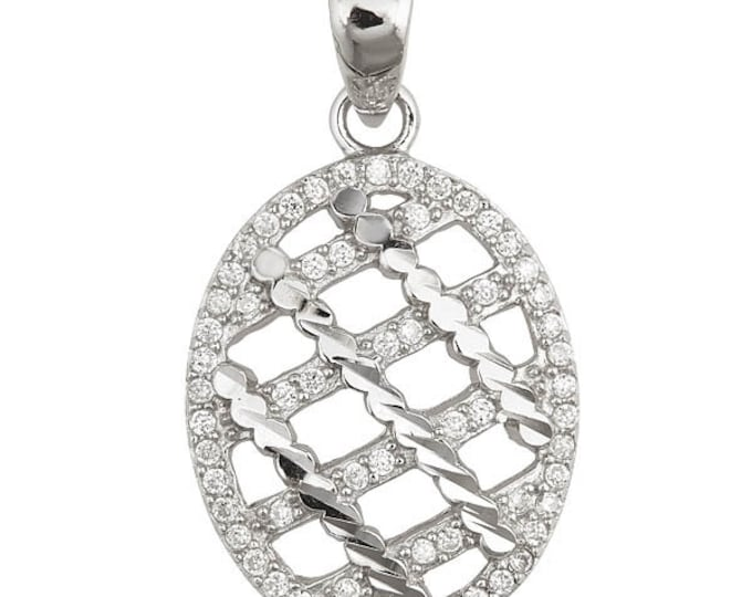 Lovely Criss Cross Oval Pendant 18k Layered On Sterling Silver