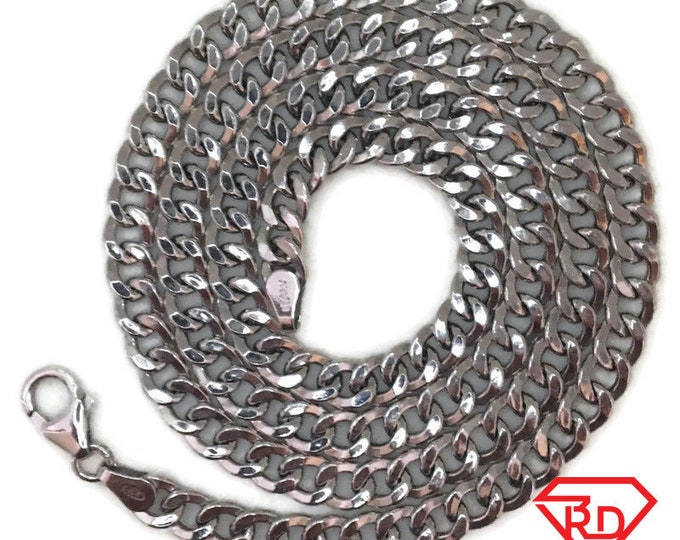 White gold layer on silver necklace hollow curb chain 20 inch