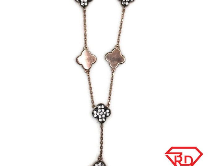 Rose Gold on Silver necklace black 4 leaf clover with round white CZ