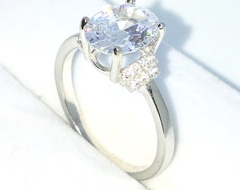 New Handcraft White Gold Plated on Sterling Silver engagement ring band with 4 prong basket large white oval CZ