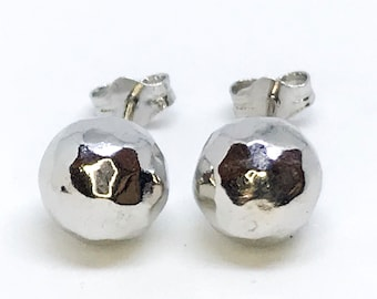 NEW 14K White Gold Layered on Sterling Silver Disco Ball Stud Earrings