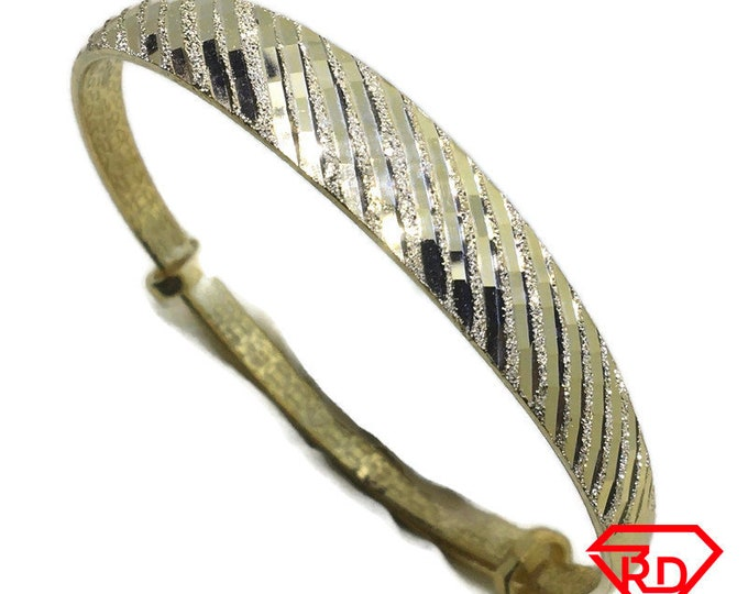 Diamond cut Disco slip in Bangle 999 Yellow Gold Layer