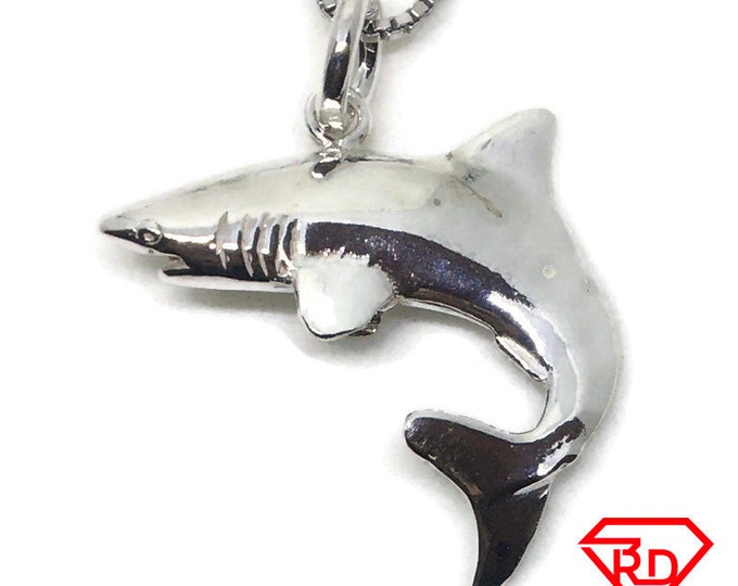 cute Shark small charm pendant 925 Solid Silver