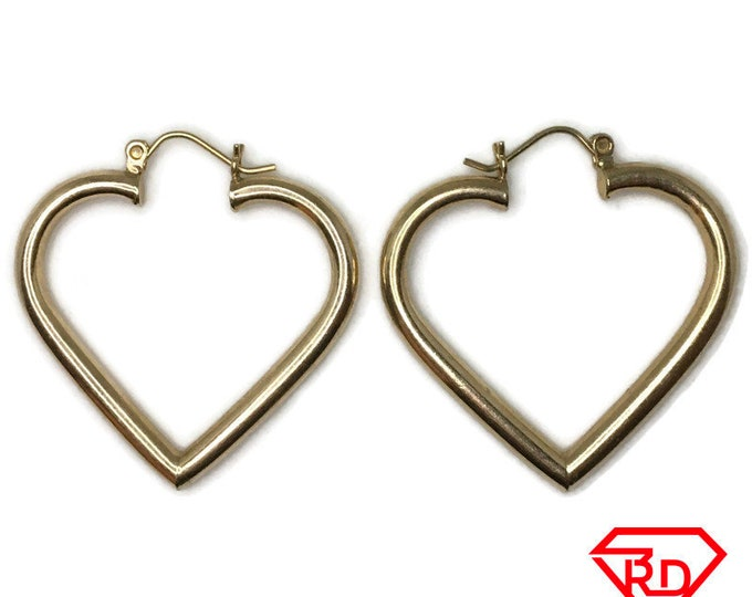 14K Hollow Heart large plain Earrings of yellow gold