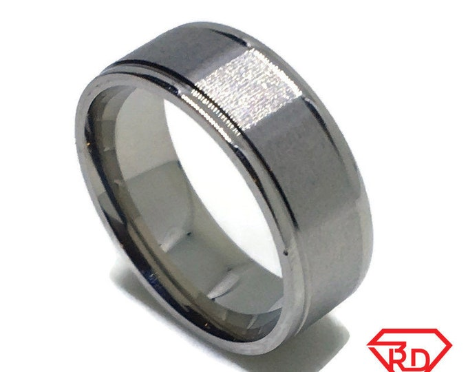 8 . 0 mm Brand New White Gold Plated with Dented line at Edges on Stainless Steel ring band