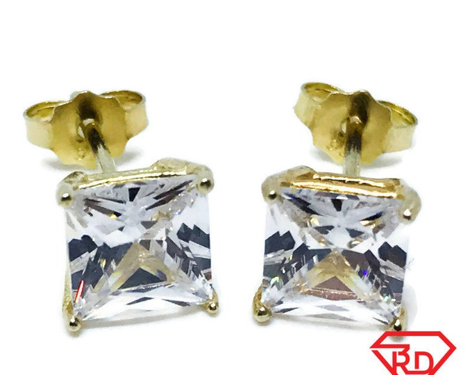 Small Square 14K yellow gold sterling silver earrings