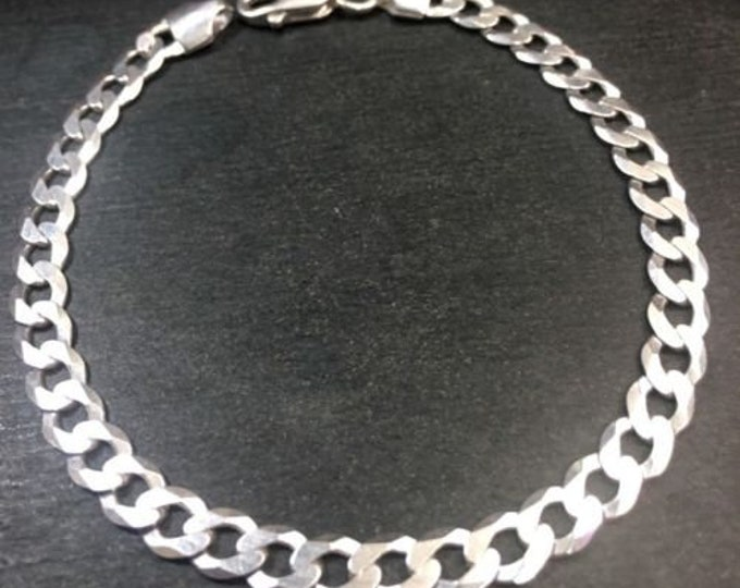 Solid sterling 925 silver italian curb link men anti-tarnish bracelet 5.5 mm- 8""