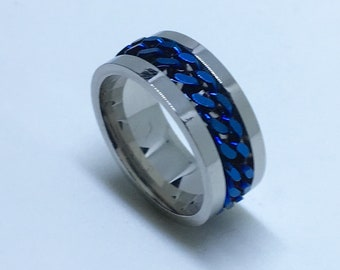 8 . 0 mm Brand New White Gold Plated with Spinning Blue Center Line on Stainless Steel ring band