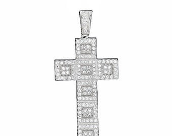 Fancy Squared .925 Sterling Silver Micro-pave Cross Pendant