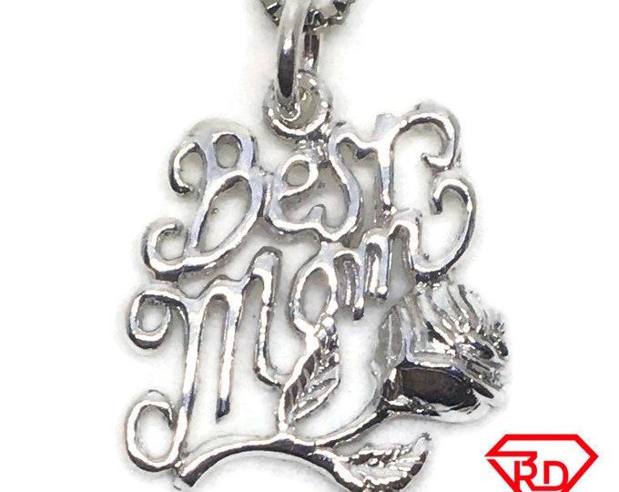 Best Mom Rose charm pendant 925 Sterling Silver