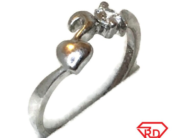 Brand New White Gold on 925 Sterling Silver Teen Ring Band Heart shape round white CZ ( size 7 . 25 )