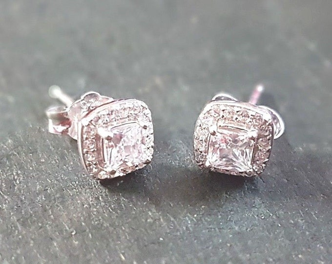 Brand new 14k white gold layer on 925 sterling silver fancy square cz earrings