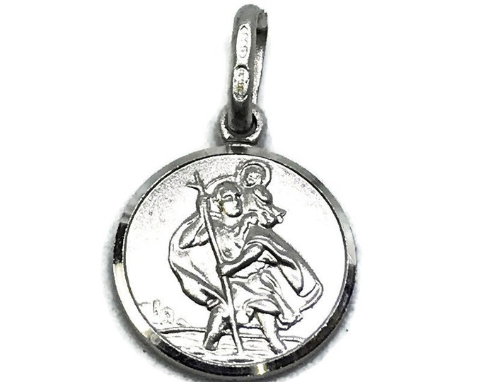 NEW 14K White Gold Layered on .990 Sterling Silver Kids Circle Religious Christ Plate Pendant