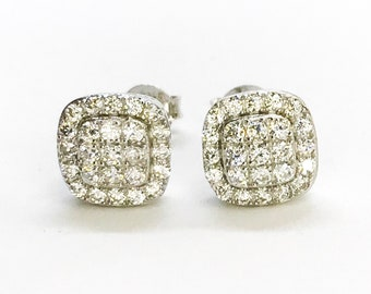 NEW 14K White Gold Layered on Sterling Silver Curvy Small Square with Stones Stud Earrings