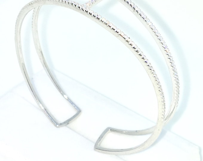 New White Gold Layered on 925 Solid Sterling Silver Bangle Bracelets H shape thin rows white round CZ slip on