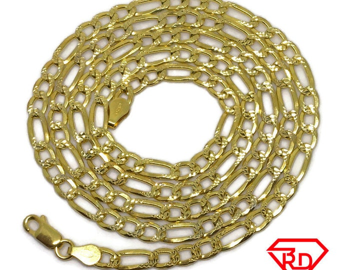 Wide Figaro Chain 28 inch Necklace .999 Yellow Gold Layer