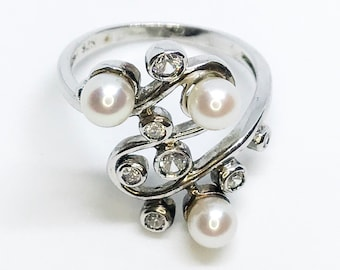 NEW 14K White Gold Layered on Sterling Silver Beautiful Branch with Pearls and Stones ring