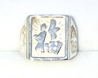 New Handcraft 925 Solid Sterling Silver ring band with wide Square Shape and Lucky Chinese Letter