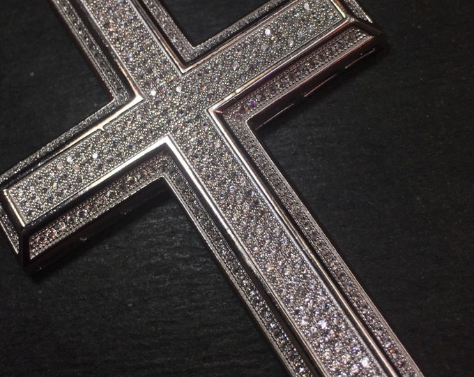 "New 2""X4"" Huge XXXLarge handset 10ct cz Cross Religious charm Bling Bling men pendant"