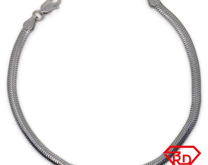 Flat Snake Chain Bracelet 14k White Gold Plated