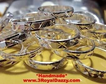 Exclusive 3 Royal Dazzy's Handmade diamond cut solid 925 Silver Ring Band - 4 mm Size 10