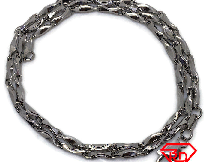 Handcraft Artistic Thin Chain 16 inch Necklace White gold Layer