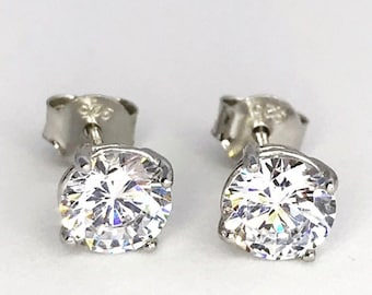 14k White Gold on Sterling Silver Round Earrings
