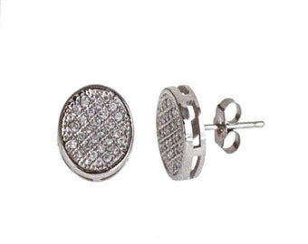 14k White gold layer Round Micro-Pave CZ .925 Sterling Silver Unisex Earrings