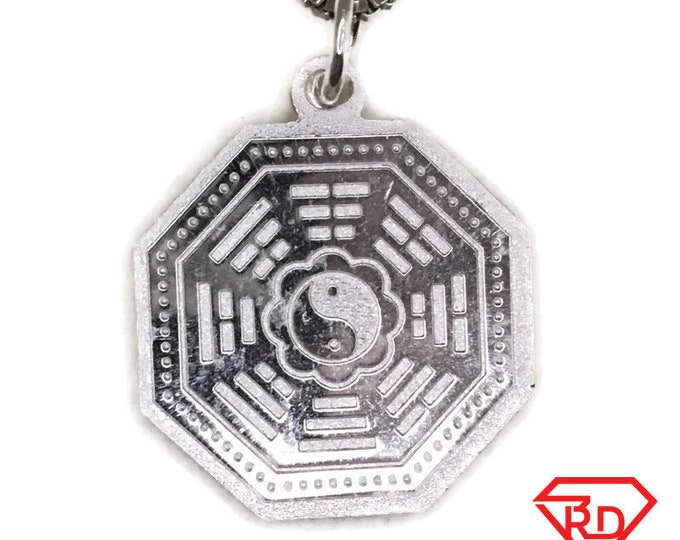 New Handcraft Anti-Tarnish 925 Silver Pendant two sided octagon yin yang and free chain