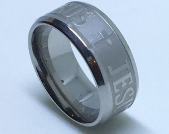 7 . 9 mm Brand New White Gold Plated with Jesus and cross on Stainless Steel ring band
