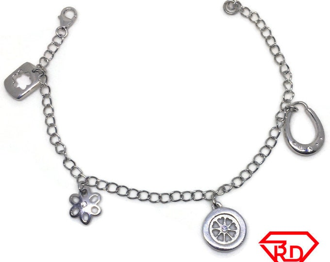 Circles and Flowers charm Bracelet 14k White Gold Plated