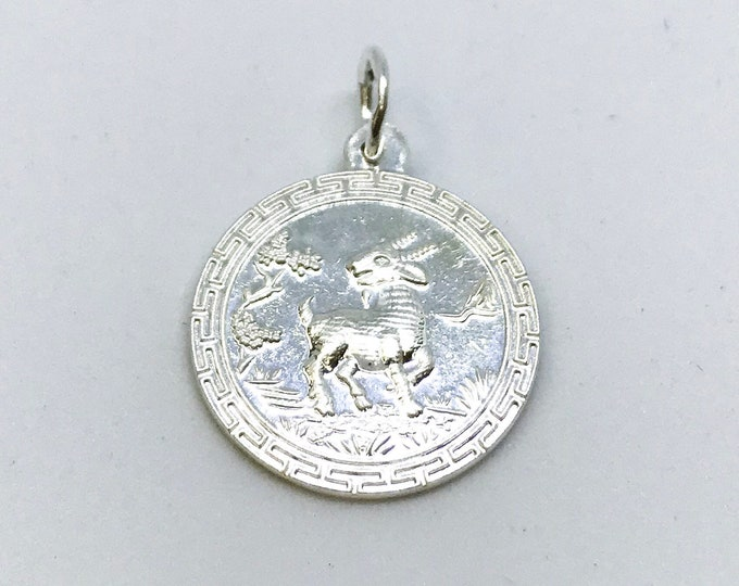 NEW .990 Sterling Silver Year of the Sheep Lucky Asian Pendant