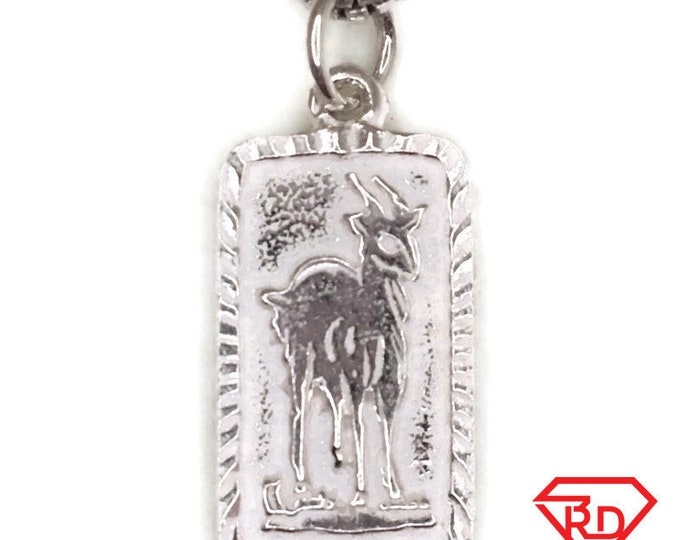 New Handcraft Anti-Tarnish 925 Silver Pendant small rectangle one sided goat and free chain