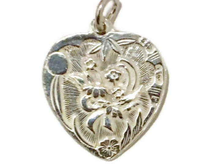 New Silver Pendant heart shape Chrysanthemum Flower and Fortune