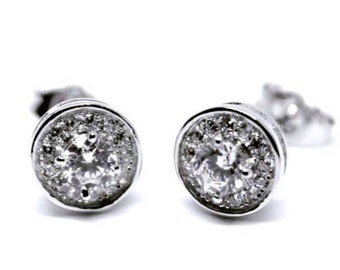 14k White Gold on 925 Silver Round Earrings