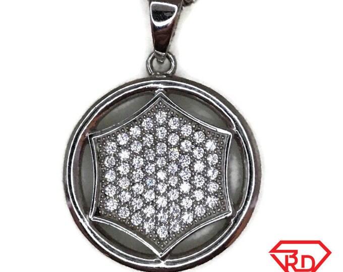 White Gold layer Silver Pendant hexagon in circle & white round CZ