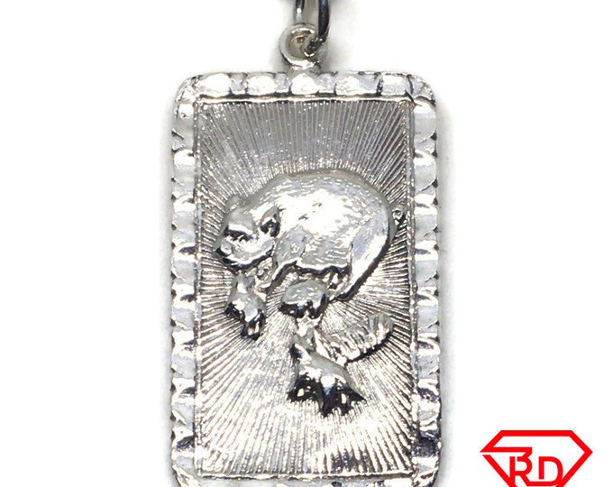 Pig zodiac rectangle charm pendant White gold layer