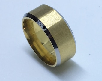 8 . 0 mm Brand New Yellow Gold Plated with Dented Edges on plain Stainless Steel ring band