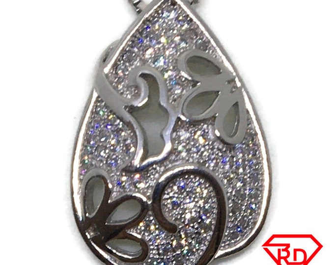 Cubic Zirconia Teardrop pendant white Gold on 925 silver