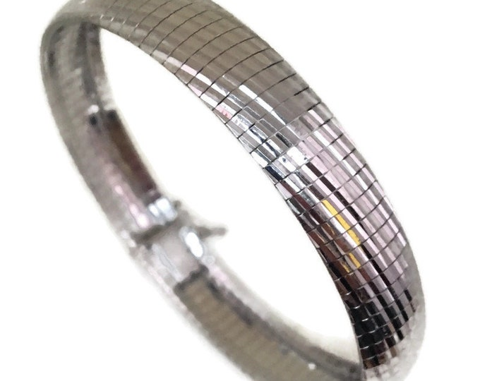 white gold layer Silver bracelet Omega diamond cut