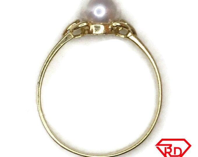 14K tiny ring round pearl and yellow gold